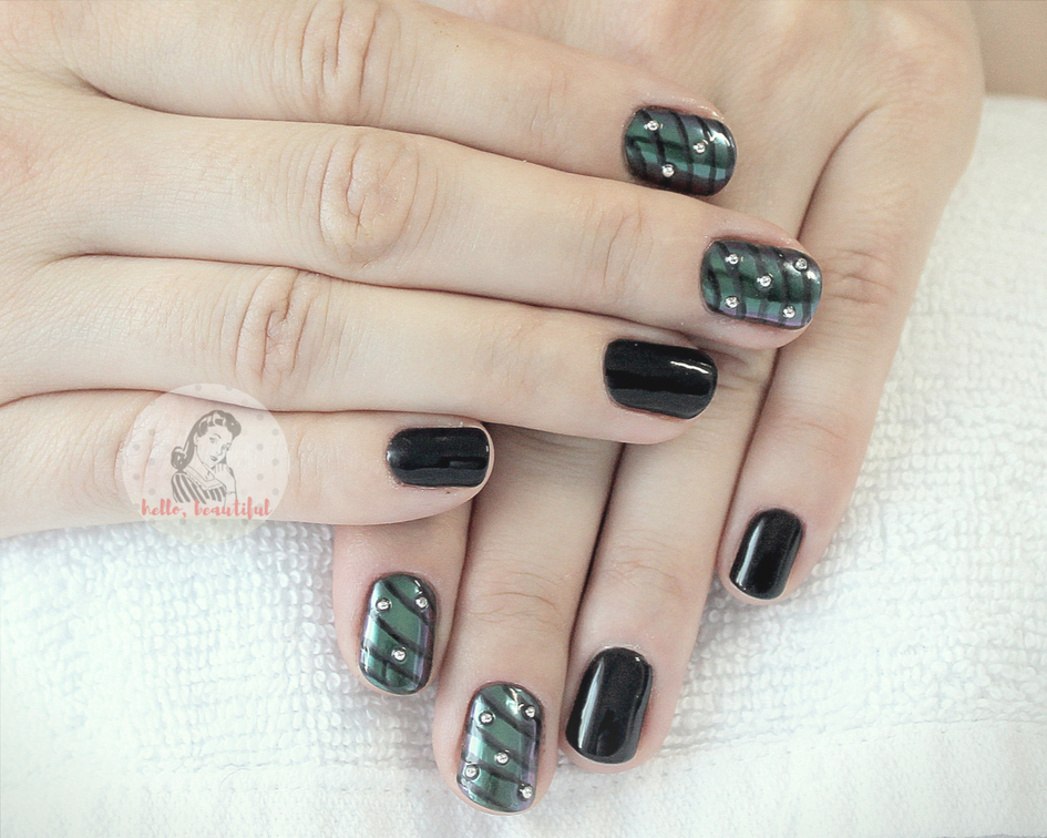 metallic studs manicure