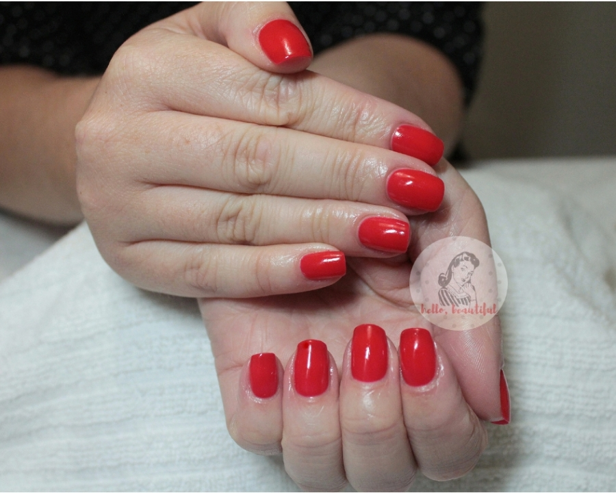 red lucky lady gelish manicure