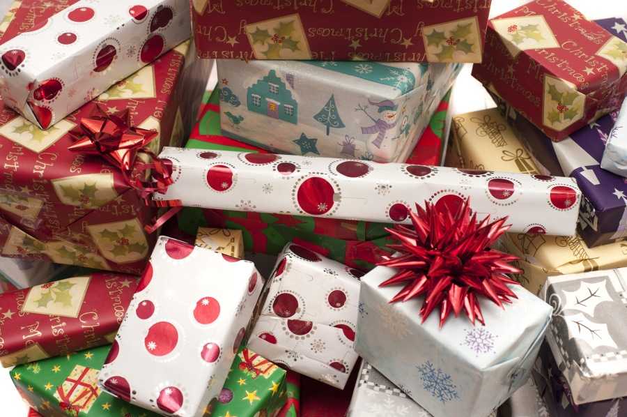 Pile of decorative colorful Christmas gifts