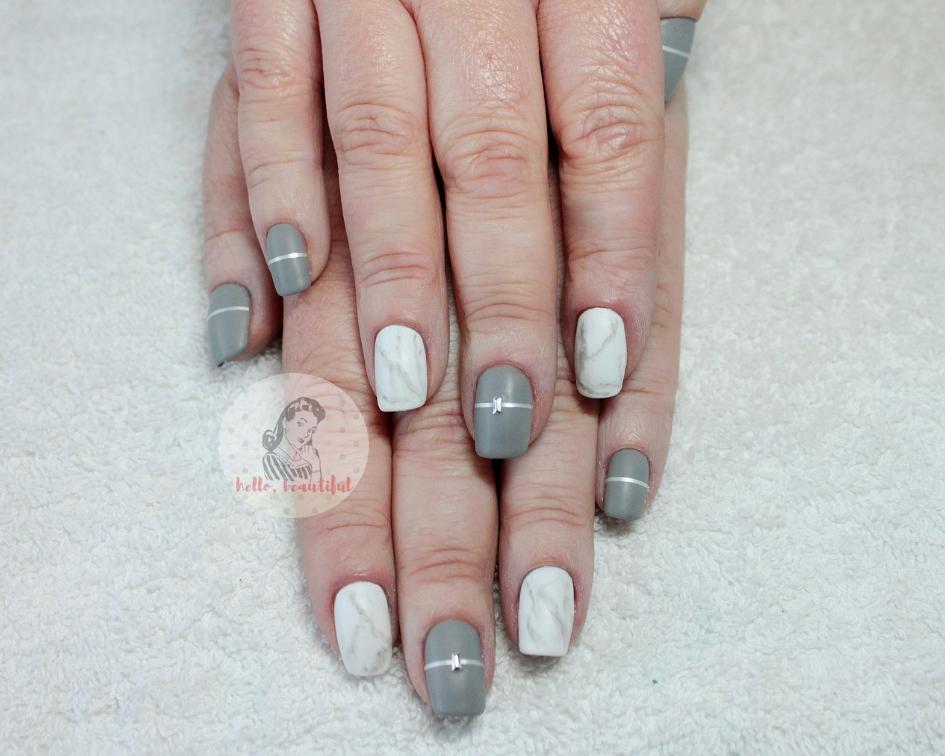 marble grey nails