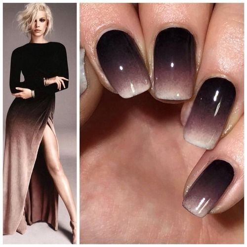 ombre nails matching outfit