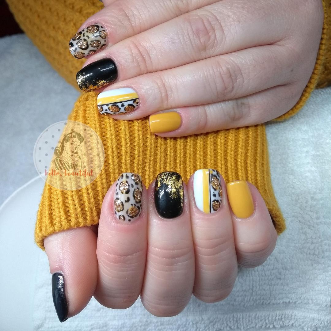 mustard leopard pattern mani