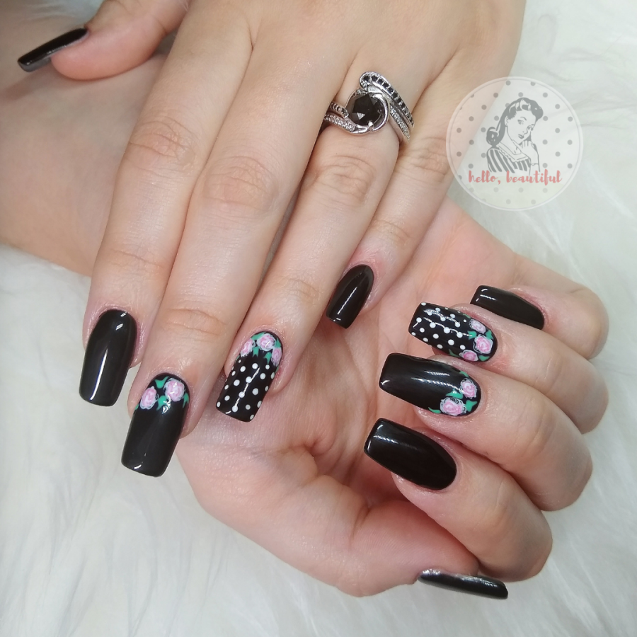 extensions long nails black classic