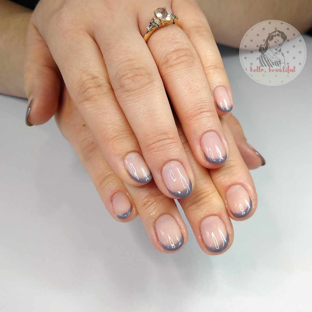 grey french nails